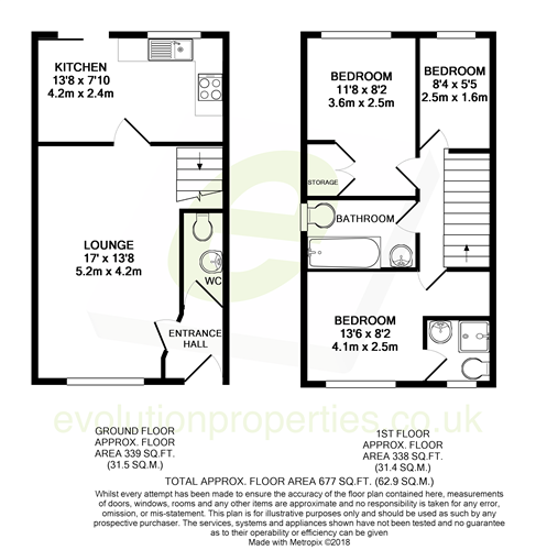 3 bed terraced house for sale in Smithy Drive, Kingsnorth, Ashford - Property Floorplan