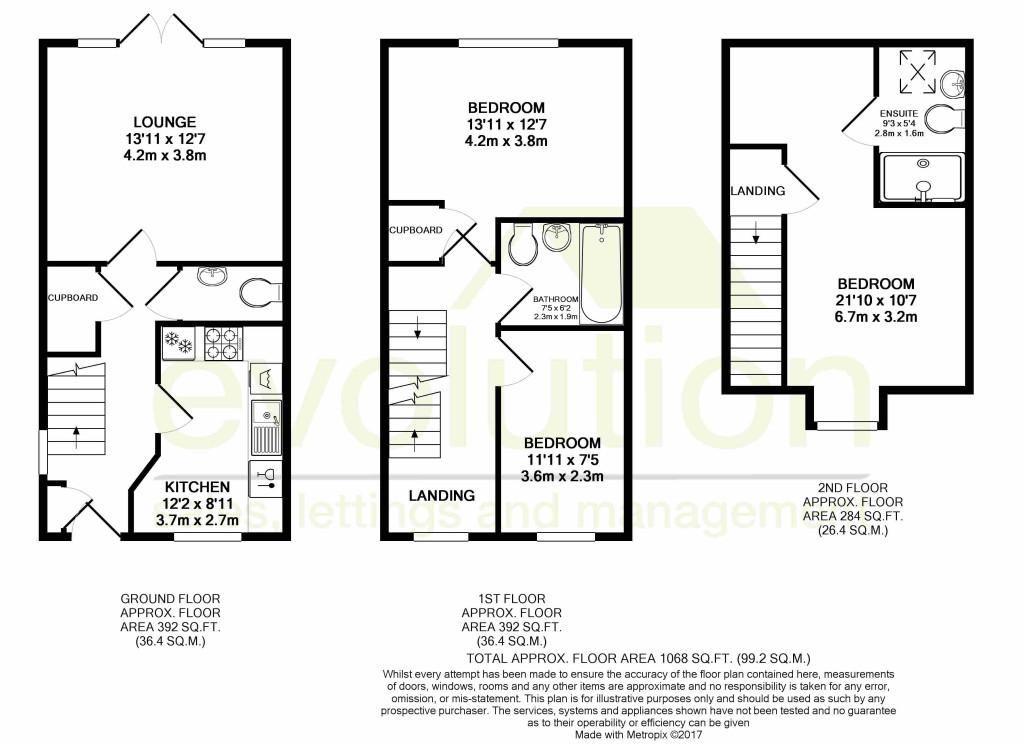 3 bed semi-detached house to rent in Dorset Crescent, Bridgefield, Ashford - Property Floorplan