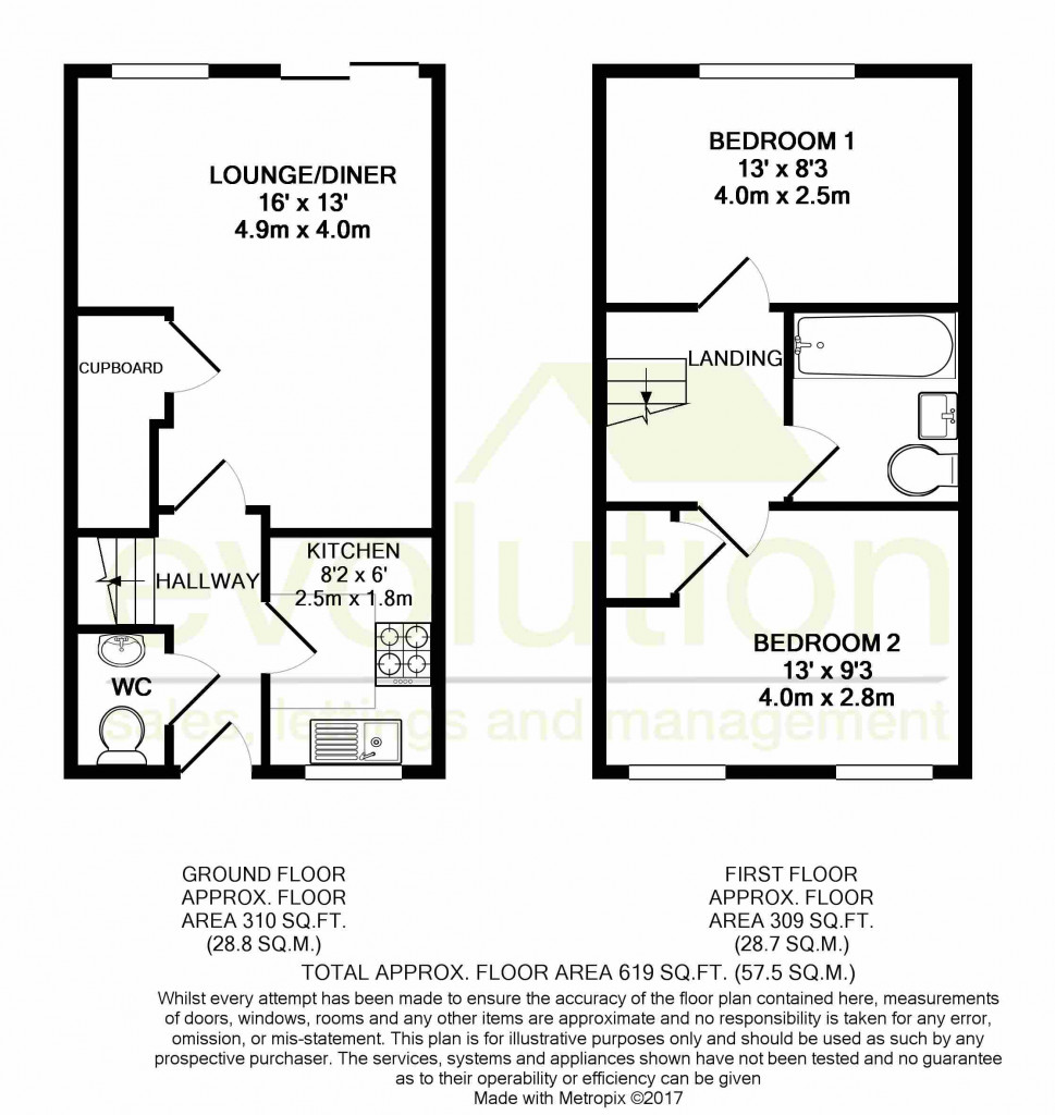 2 bed terraced house to rent in Sun Rise, Orchard Heights, Ashford - Property Floorplan