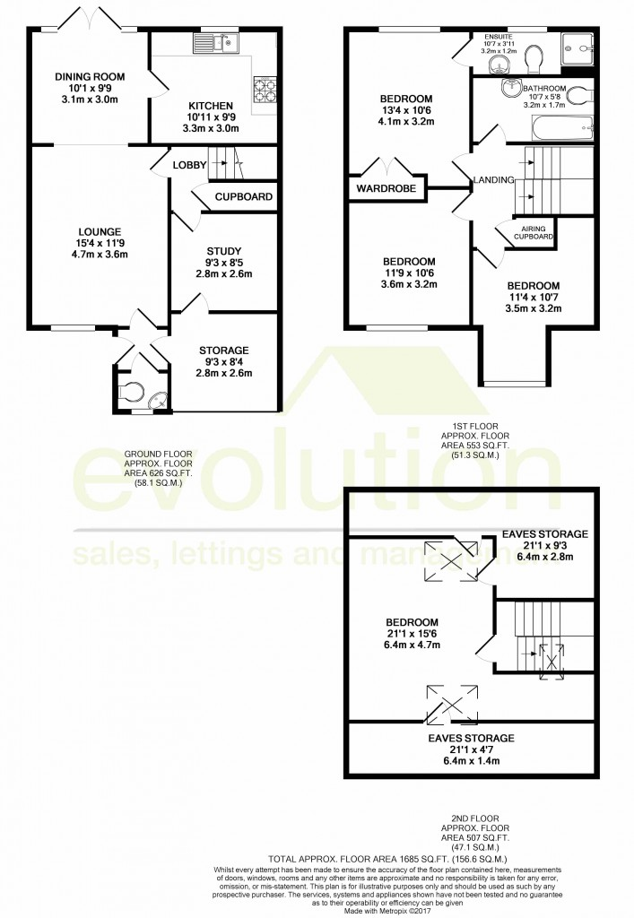 4 bed end of terrace house for sale in Chaffinch Drive, Kingsnorth, Ashford - Property Floorplan
