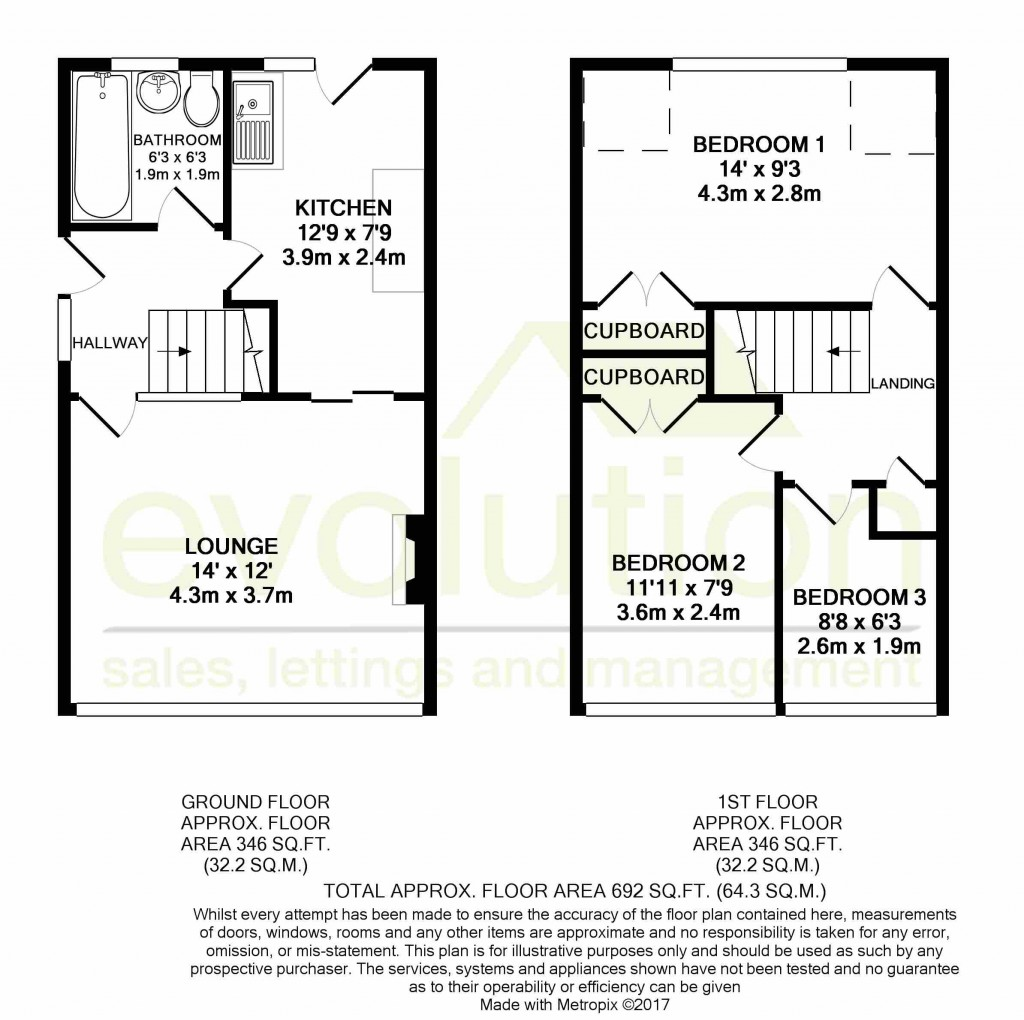 3 bed semi-detached house for sale in The Rise, Ashford - Property Floorplan