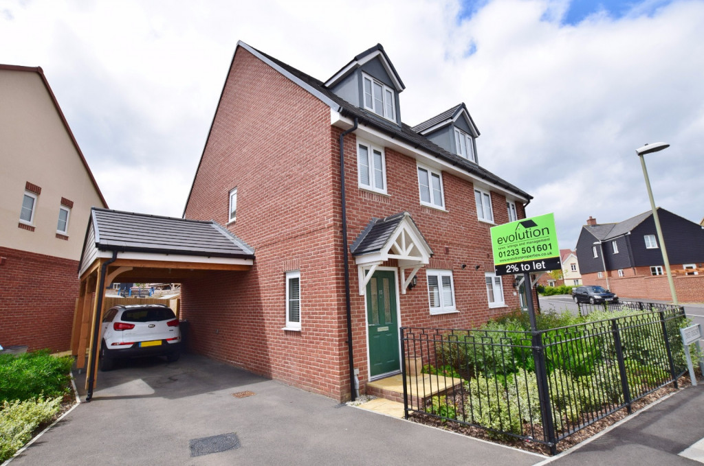 3 bed semi-detached house to rent in Dorset Crescent, Bridgefield, Ashford 1