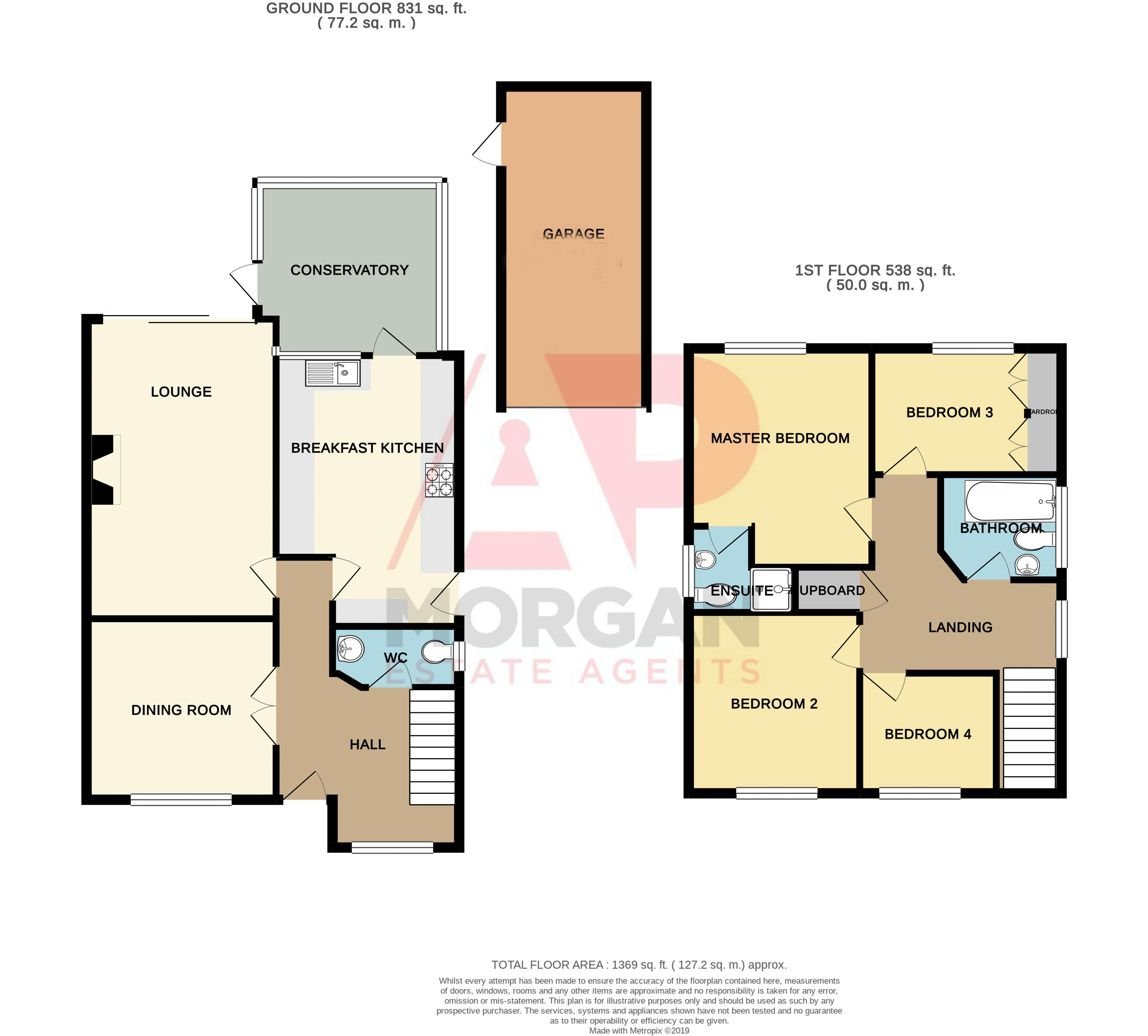 4 bed house for sale in Harlech Close, Worcester - Property Floorplan